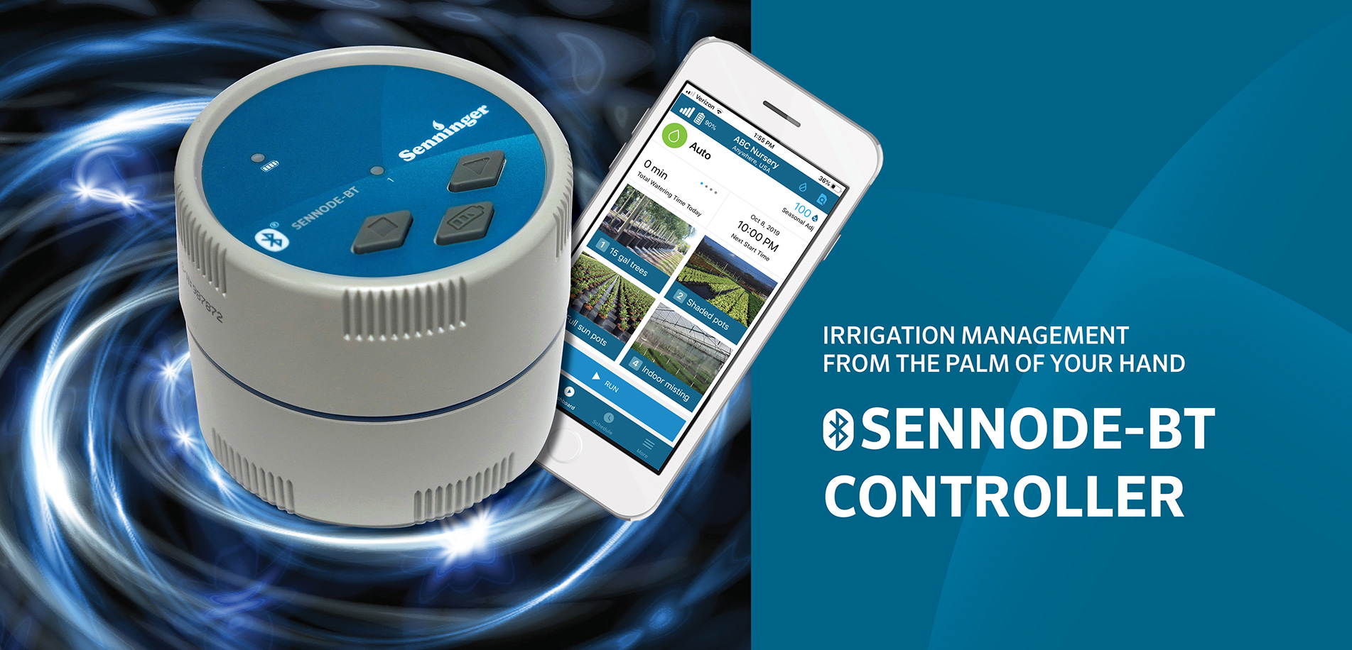 Irrigation Management from the Palm of Your Hand. SENNODE-BT Controller