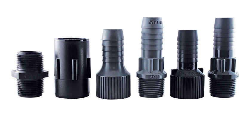 Senninger Adapters & Fittings are constructed with non-corrosive UV-resistant thermoplastic for a longer life