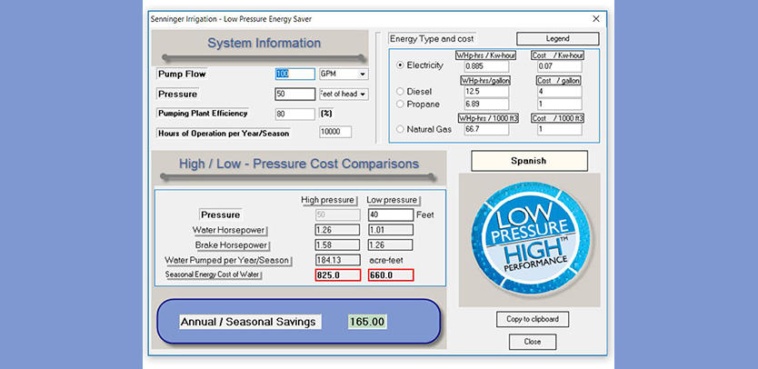 Energy Calculator | Senninger Irrigation