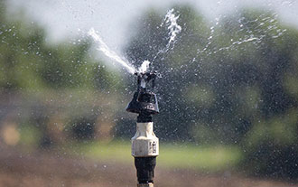 Low-pressure sprinklers, like the Senninger Wobblers, apply water instantaneously in a 360-degree wetted pattern